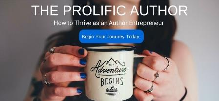 prolific author header with link button